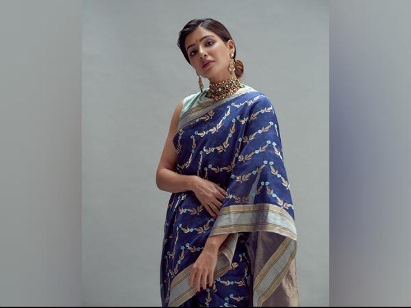 Samantha Akkineni ជ្រើសរើសសារ៉ាយខៀវស្រស់ស្អាតសម្រាប់ពិធីមង្គលការរបស់ Rana Daggubati