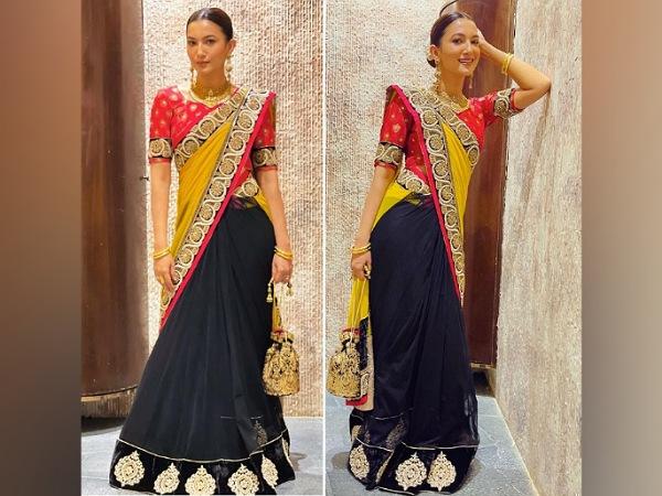 Gauahar Khan Flaunts nyt-ons look i neongul saree og trefarvet saree, hvilken kunne du lide mere?