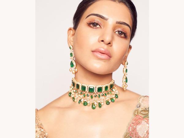 Samantha Akkineni 'nám dáva nápad svadobného vzhľadu so svojimi zelenými šperkami Lehenga a Emerald